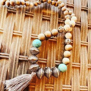 Bohemian Wood/Healing Stone Necklace